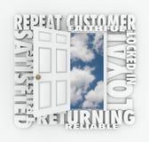 Repita al cliente confiable de Loyal Satisfied Customer Open Door Imagen de archivo libre de regalías
