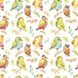 Repita el modelo con los pájaros verdes y amarillos de la acuarela Imagen de archivo libre de regalías