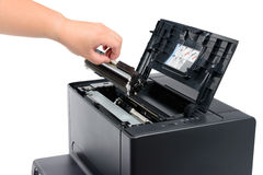 Replace black toner cartridge. In a laser printer, isolated on white royalty free stock images