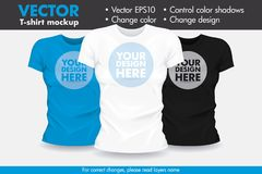 Replace Design with your Design, Change Colors Mock-up T shirt Template. Vector Royalty Free Illustration