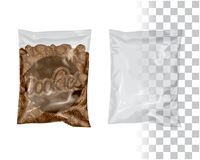 Replace Product for your Product, Change `Cookies` by your Logo/Design Mockup Transparent Plastic Package Foil Bag Pouch Snack Coo royalty free illustration