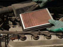 Air filter replacement Stock Photo