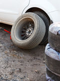 Replacement of car tyres - tire fitting Royalty Free Stock Photos