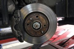Replacement of disc brakes Stock Photos