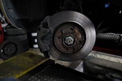 Replacement of disc brakes. In progress Royalty Free Stock Photography