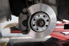 Replacement disc brakes. From the mechanic Royalty Free Stock Image