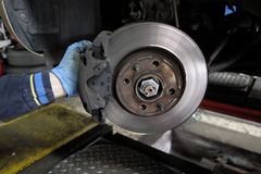 Replacement of disc brakes. In progress Royalty Free Stock Image
