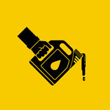 Replacement motor oil icon. Car mechanic hold canister of motor oil silhouette, isolated on background. Station service maintenance. Lubrication engine and Stock Photos