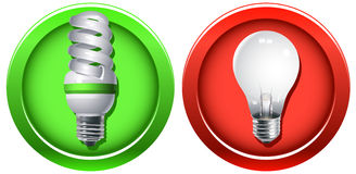 Replacement Of Outdated Incandescent Bulbs. Vector illustration of an old and outdated incandescent light bulb banned (or coming out of use) and a new Stock Image