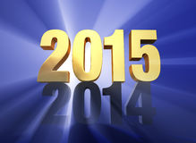 2015 Replaces 2014. A brilliantly backlit, gold 2015 sits atop a dark gray 2014 on a deep blue background with light rays shining through both years Royalty Free Stock Photo