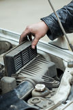 Replacing the air filter Stock Photography