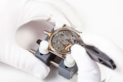 Replacing battery in quartz watch close up. Watchmaker workshop - replacing battery in quartz watch close up by tweezers on white background Stock Photos