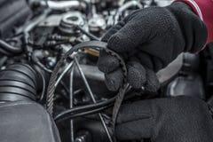 Replacing the belt. Car repair. Under the hood of the car. Stock Photo