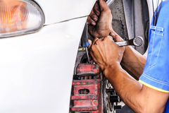 Replacing brakes vehicle Stock Image