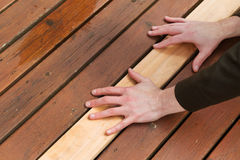 Replacing Cedars Boards on Deck Royalty Free Stock Images