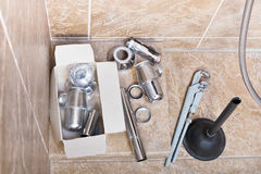 Replacing of corroded sink trap Stock Photos