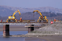 Replacing the deck of Arnside (Kent) viaduct. First day of the 16 week closure of Arnside (railway) viaduct on the Furness line to Barrow in Furness. The viaduct Stock Images