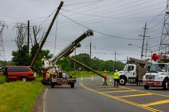 Replacing the electric pillar after a car accident sunny day. Stock Image
