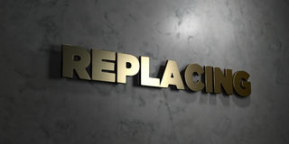 Replacing - Gold text on black background - 3D rendered royalty free stock picture. This image can be used for an online website banner ad or a print postcard royalty free illustration