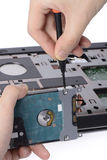 Replacing a laptop hard disk drive Stock Photos