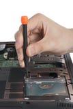 Replacing a laptop hard disk drive Stock Photography