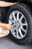Car wheel changing Stock Photography