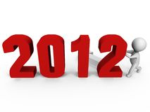 Replacing numbers to form new year 2012 - a 3d im. A person is replacing the numbers to form new year 2012 instead of 2011, a 3d image royalty free illustration