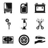 Replacing part icons set, simple style. Replacing part icons set. Simple set of 9 replacing part vector icons for web isolated on white background vector illustration
