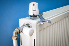 Replacing radiator heating valve Royalty Free Stock Images