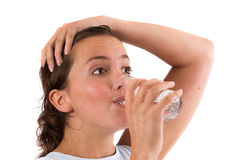 Replenishing fluids after the workout Royalty Free Stock Images
