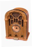 Replica of 1940 radio. An authentic replica of a 1940 radio against white stock image