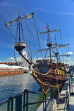 Replica of an ancient sail ship. Replica of an old wooden galeon with square rigging in Gdansk, northern Poland Stock Image
