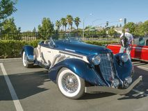Replica of a 1936 Auburn Speedster. A modern replica of an American classic. An excellent reproduction of an Auburn Speedster seen at Folsom`s Cars & Coffee Stock Photography