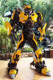 The Replica of Bumblebee robot statue from Transformer at Wat samarn temple Royalty Free Stock Images