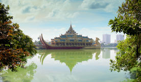 Replica of a Burmese Royal Barge on Kandawgyi Lake in Myanmar. Karaweik, a concrete replica of a Burmese royal barge on Kandawgyi Lake in Yangon, Myanmar royalty free stock image