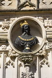 Replica bust of Charles I on Chichester city market Cross. In Chichester, West Sussex England UK Stock Image