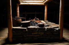 Replica Canadian Logger Cabin Fire Pit Royalty Free Stock Photos