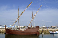 Replica of the caravel Boa Esperanca. In Portugal Stock Images