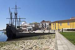 Replica of a Caravel and Shipyard. Replica of a caravel and the shipyard in Vila do Conde, Portugal Stock Photography