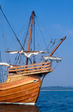 Replica carrack medieval sailing ship. Royalty Free Stock Photo