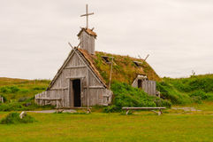 Replica Church in Viking Village in Newfoundland Stock Photos