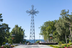 A replica of the cross of Giewont. A replica of the cross of Giewont from the Tatra Mountains placed over the Baltic sea in Pustkowo, Poland Stock Image