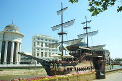 Replica of a danish ship on Vardar river in Skopje Macedonia. Used as restaurant and hotel Stock Photos