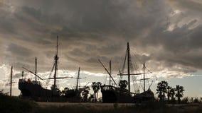 Replica della nave di Columbus al Waarf dei Carvels a Huelva, Spagna immagini stock libere da diritti