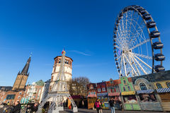 Replica della torre Eiffel a sostegno della Francia a Dusseldorf, germe Fotografia Stock Libera da Diritti
