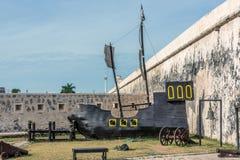 Replica di legno di vecchia nave della vela in Campeche, Messico immagine stock