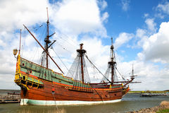 Replica of Dutch tall ship the Batavia. In the harbor stock images