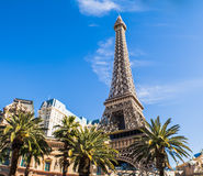 Replica of Eiffel Tower in Las Vegas. The Eiffel Tower Restaurant at the Paris hotel in Las Vegas, in sunny day Royalty Free Stock Image