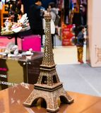 Replica of Eiffel Tower made of dark chocolate. Seoul, South Korea, January, 19, 2018:Replica of Eiffel Tower made of dark chocolate on display at the Seoul Stock Photography