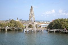 Replica of the eiffel tower in the Mangrove forest area, Congot Beach, Yogyakarta stock images